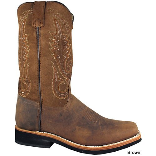 (Smoky Mountain Men's Boonville Cowboy Boot Square Toe Brown 10 EE US)