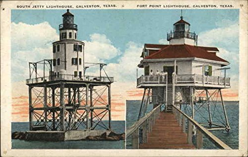 South Jetty and Fort Point Lighthouses Galveston, Texas Original Vintage - Texas Lighthouse