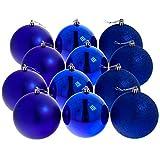 12 blaue hochwertige Christbaumkugeln