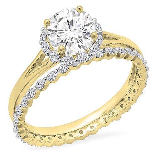 Dazzlingrock Collection 14K Round Moissanite & White Diamond Ladies Halo Bridal Engagement Ring Set, Yellow Gold, Size 7 ()