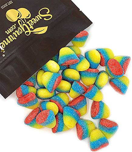 SweetGourmet Sour Tropical Gummi Drops - Rainbow Colored Candy soft gummy puffs - mango, strawberry (1.5Lb) ()