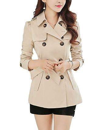Classic Pink Femme Manteau Veste Double Boutonnage Décontractée Svelte  Trench Coat  Amazon.fr  Vêtements et accessoires f8e3cd6316bb