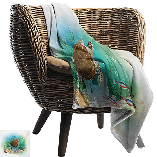 Bed Blanket,Ocean,Sea Turtle Swims in The Ocean Tropical Underwater World Aquarium Illustration Print,Green Brown,for Bed & Couch Sofa Easy Care ()