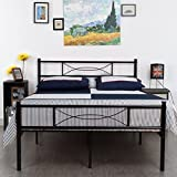 metal bed frame legs - SimLife Metal Bed Frame Full Size 10 Legs Two Headboards Mattress Foundation Steel Double Platform Bed No Box Spring Needed Black