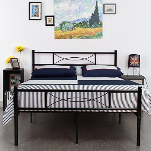 (SimLife Steel Double Platform Box Spring Needed Black Metal Bed Frame Full Size 10 Legs Two Headboards Mattress)