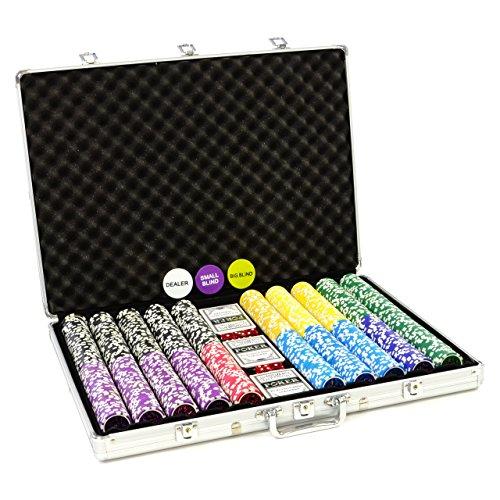 Pokerkoffer 1000 Chips Laser Pokerchips Poker Komplett Set Koffer aus Aluminium mit Schnallenschloss + Schlüssel 11g Chip mit Metallkern inkl. Kunststoffkarten und weiterem Zubehör