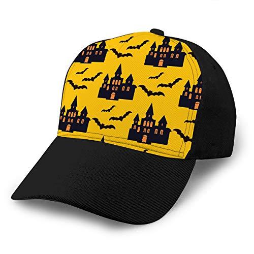 Vintage Cap Hat Adjustable Baseball Hat for Unisex Natural Halloween Pattern Holiday Design Design Template Haunted Castle Trees Bats Full Moon
