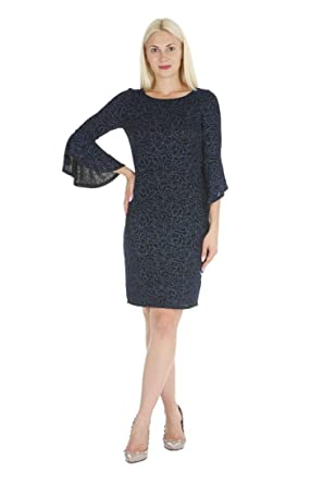 f184abcd38a ONYX Nite Women s 3 4 Length Bell Sleeve Glitter Knit Sheath Dress at  Amazon Women s Clothing store