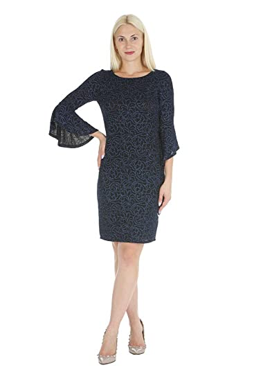 099605f40c ONYX Nite Women s 3 4 Length Bell Sleeve Glitter Knit Sheath Dress at  Amazon Women s Clothing store