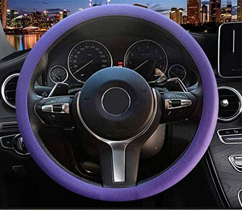 Sulida Steering Wheel Cover Auto Car Silicone Great Grip Anti-Slip Steering Cover for Diameter 36-38cm/13-15inch (Dark purple2)