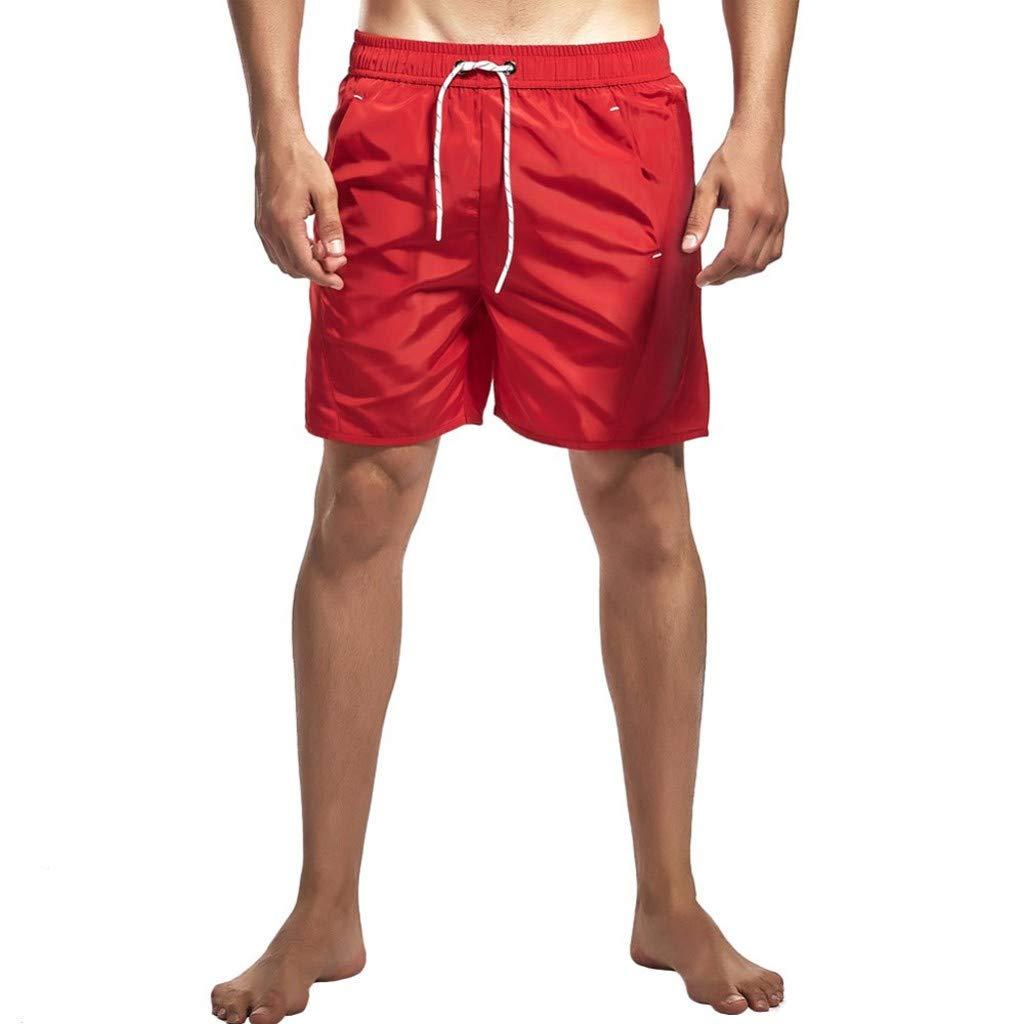 NUWFOR Men's Swim Trunks Quick Dry Beach Surfing Running Swimming Shorts (Red,US:S Waist31.50'')