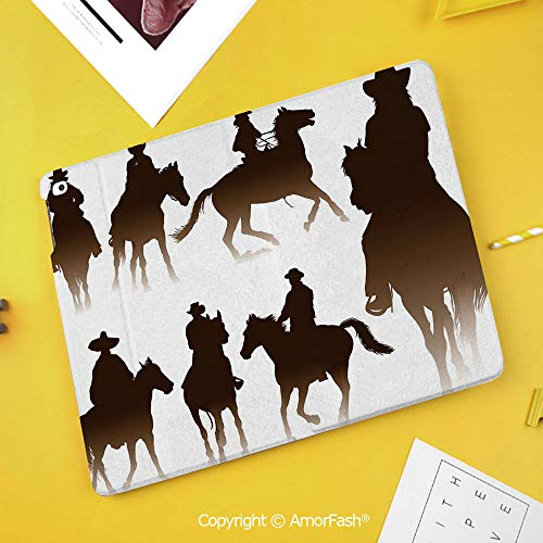 (Printed Case for Samsung Galaxy Tab S4 10.5 SM-T830 T835 T837 Tablet Kids Safe,Western,Collection of Horseback Riding Silhouettes Bridle Ranch Stallion Equestrian Theme Decorative,Dark Brown)