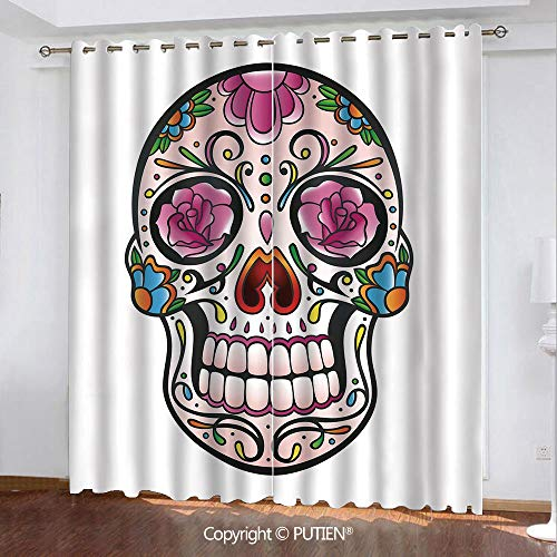 Satin Grommet Window Curtains Drapes [ Sugar Skull