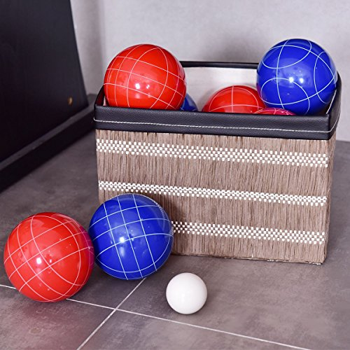 MD Group Bocce Set Backyard Ball Multi-color Resin Outdoor Game Case Lawn Balls by MD Group
