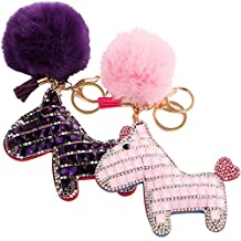 kilofly 2pc Faux Fox Fur Keychain Pom Pom Ball Pony Rhinestone Car Key Holder