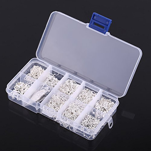 650Pcs Jewelry Making Findings Starter DIY Kit Tools Beads Head Pins Chains Findings Handmade Accessories Silver with Box