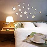 VancyTop Silver Stars Mirror Effect Acrylic Wall Sticker for Kids' Room Nursery Babys' Room Decoration