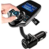 Car FM Transmitter Bluetooth Wireless Radio Adapter Car Kit Bluetooth Audio Receiver Hands Free Calling Music Player with USB Port and Aux Inputt/Output TF Card 1.44