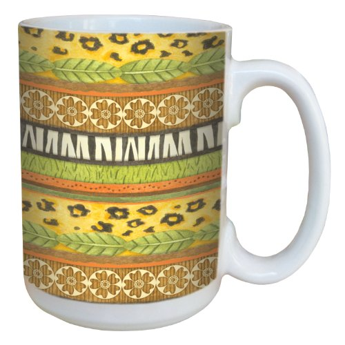 Tree-Free Greetings 79299 Jungle Stripe by Debbie Mumm Ceramic Mug with Full-Sized Handle, 15-Ounce