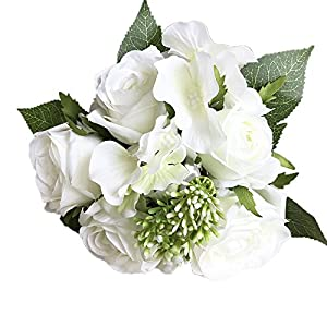 Kstare 8 Heads Bouquet Artificial Rose Fake Silk Flower Leaf Bridal for Home Wedding Party Decor Indoor Outdoor 45