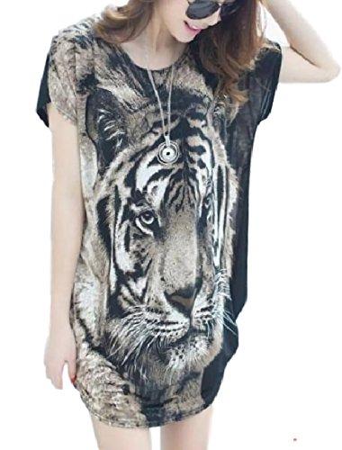 サラローズ(Sarah Rose) チュニック 半袖 ミニ 丈 ワンピース ゆったり 長め カットソー ロング Tシャツ タイガー 豹 柄 ロンT Uネック