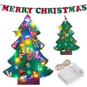 PITAYA Árbol de Navidad de Fieltro,Arbol de Navidad de Fieltro DIY con 26pcs Árbol de Navidad para niños Juguetes educativos Decoración de Pared,Merry ...