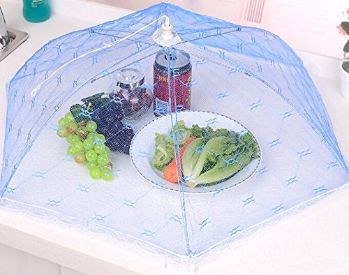 Gorgeous Lace Umbrella Food Cover, Pop-Up Mesh Tent for BBQ, Picnics, Outdoor (Sky - Picnic With Net Tent