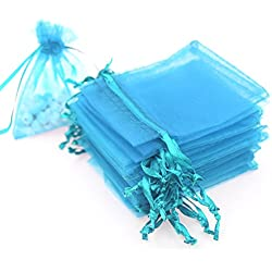 "AKStore 100PCS 4x6"" (10x15cm) Drawstring Organza Jewelry Favor Pouches Wedding Party Festival Gift Bags Candy Bags (Light Blue)"