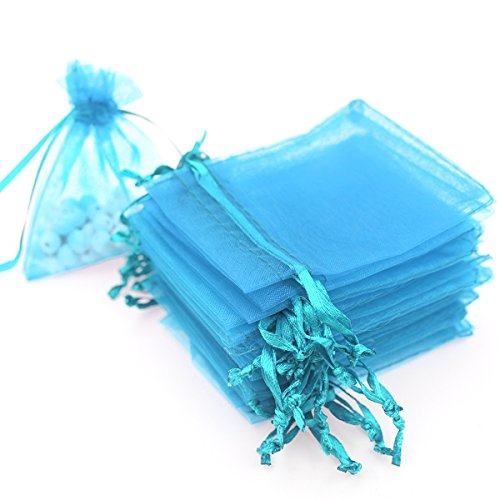 100pcs 3.6x4.8''(9x12cm) Organza Gift Bags, Drawstring Pouches Jewelry Party Wedding Favor Gift Bags,Candy Bags. (Light Blue)