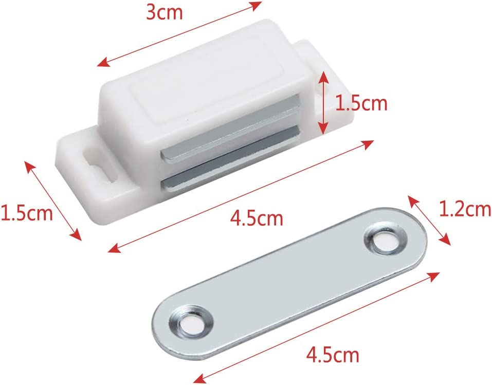15pcs Timiy Household Cabinet Door White Plastic Shell Magnetic Catch Latch Plate Small Magnetic Suction
