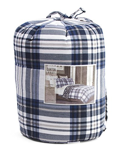 100/% Cotton Canton Post 2 Piece Fire Engine Truck Childrens Comforter Twin Flannel Reversible Navy Blue White Plaid