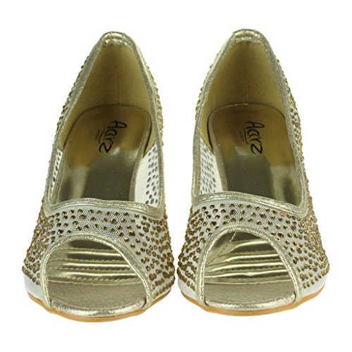 Mujer Señoras Malla diamante Peep Toe Noche Boda Nupcial Fiesta Paseo Tacones medianos Zapatillas Sandalias Zapatos Talla Oro