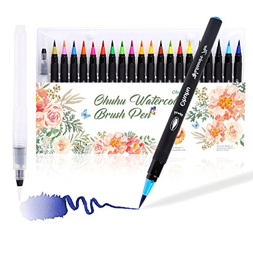 Watercolor Brush Markers Pen, Ohuhu 20 Colors Water Based Drawing Marker Brushes W/ A Water Coloring Brush, Water Colored Ink W/ Soft Flexible Tip for Adult Coloring Books, Manga, Comic, Calligraphy