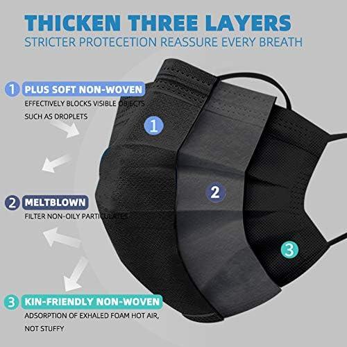 50 Pcs Black Disposable Face Masks Breathable Dust Mask Stretchable Elastic Ear Loops-Individually Wrapped Disposable Black Face Mask