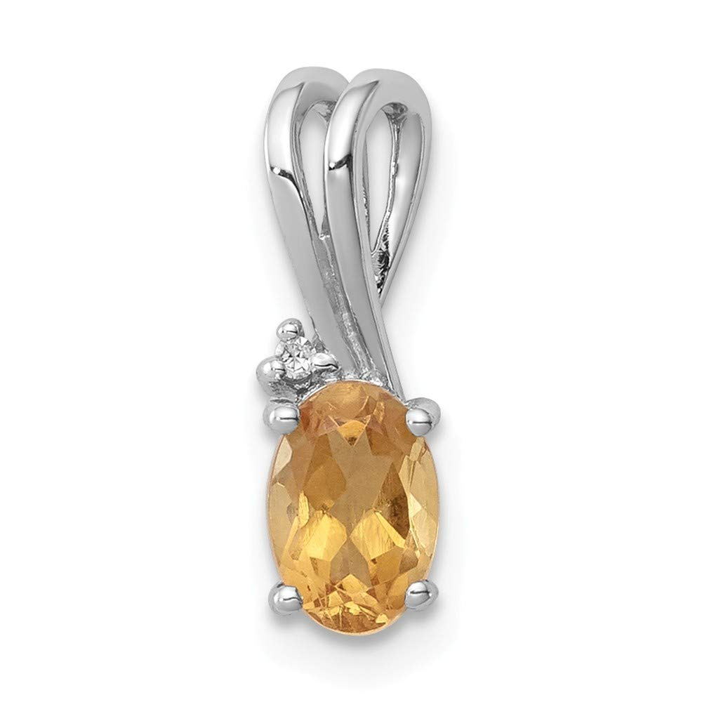 13mm x 5mm Sonia Jewels 925 Sterling Silver Diamond Golden Yellow Orange Simulated Citrine Oval Pendant