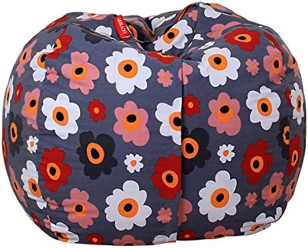 Kids Toy Storage Bean Bag Stuffed Animal Storage Bean Bag Chair Perfect Storage Solution For Blankets Pillows Towels Clothes (Grey(Flower), Round 38')