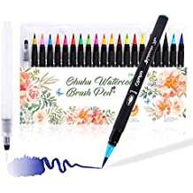 Watercolor Brush Markers Pen, Ohuhu 20 Colors Water Based Drawing Marker Brushes W/A Water Coloring Brush, Water Colored Ink W/Soft Flexible Tip for Adult Coloring Books, Manga, Comic, Calligraphy