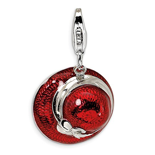 - 925 Sterling Silver Rh 3d Enameled Red Hat Lobster Clasp Pendant Charm Necklace Fine Jewelry Gifts For Women For Her