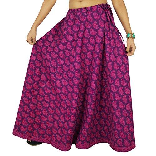 Vtements Dentelle Coton Magenta De et Swara Jupe D'Impression Purple Vtements Femmes Boho Plage Floral Voilet ttw6xqP0