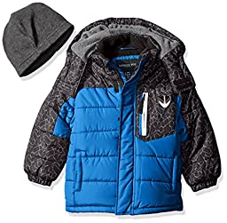 London Fog Little Boys\' Toddler Active Heavyweight Bubble Jacket, Blue, 3T