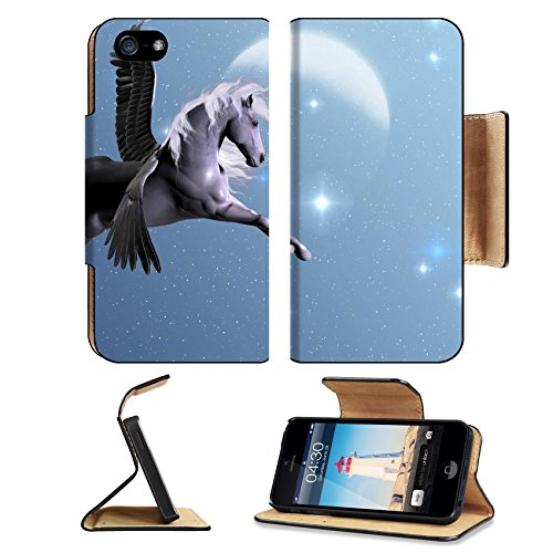 International Silver Starlight (MSD Premium Apple iPhone 5 iPhone 5S Flip Pu Leather Wallet Case iPhone5 IMAGE ID: 8386626 STARLIGHT PEGASUS Silver Pegasus flies near the stars and the moon on a bright night)