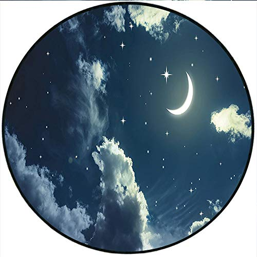 Short Plush Round Area Rug Collection Crescent Moon and on a Cloudy Starry Night Sky with Moonlight Astronomy Theme Navy Grey Dining Room Bedroom Hallway Home Office 31.5
