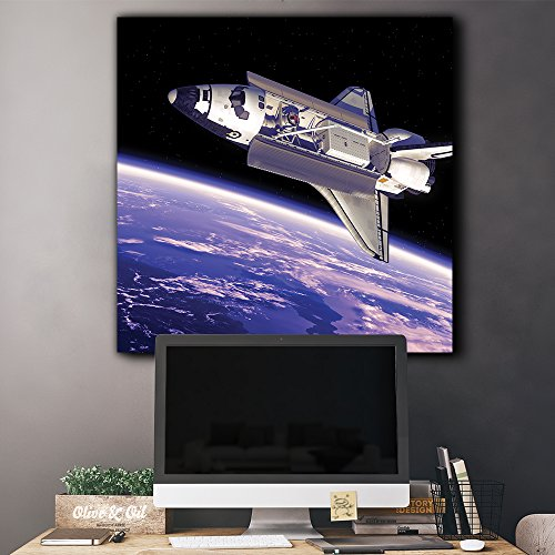 Rocketship in Outerspace with View to Planet Earth