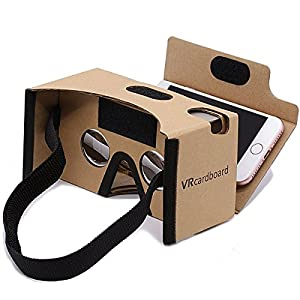 Google Cardboard,GANA 3D VR Headset Virtual Reality DIY Glasses Box with Big Clear 3D Optical Lens and Comfortable Head Strap Sucker Forehead Pad Nose Pad for All 3.5-6 Inch Smartphones