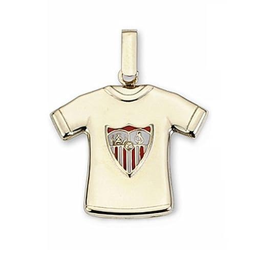 Camiseta Sevilla FC oro de ley 9k escudo estampado [AA1900GR] - Personalizable - GRABACIÓN INCLUIDA EN EL PRECIO: Amazon.es: Joyería