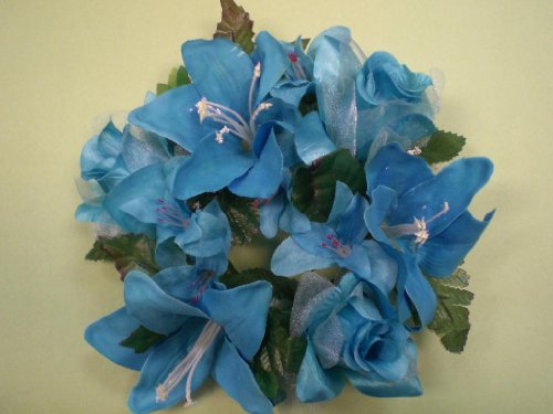 - Lot of 3 TURQUOISE Rose & Lily Silk Flowers 3