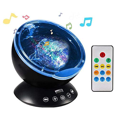 NEWKBO Color Remote Control Ocean Wave Projector,12 LED &7 Colors Night Light Projector, with Built-in Mini Music Player, for Living Room and Bedroom (Black)