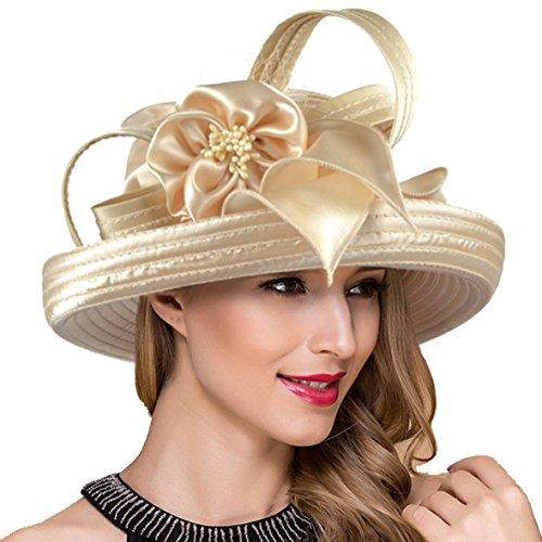Lady Church Derby Dress Cloche Hat Fascinator Floral Tea Party Wedding Bucket Hat S051 (S710-Apricot)