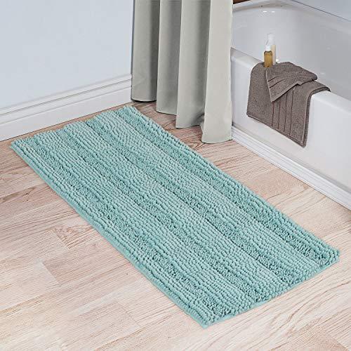 Soft Microfiber Shag Bath Rug Extra Absorbent and Comfortable Machine-Washable Bathroom Mat, 47″ x 17″, Duck Egg Blue, Single