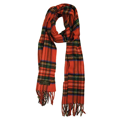 100% Cashmere Scarf, Classic Red Plaid ()